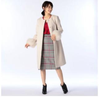 ノーリーズ(NOLLEY'S)の売切れ ノーリーズ 定番アンゴラ袖ファーコート 36サイズ(ひざ丈スカート)