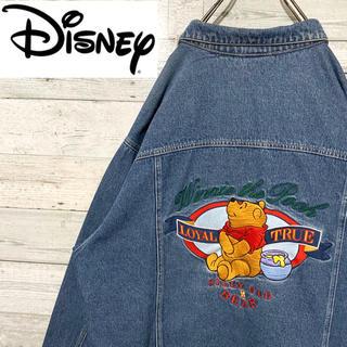 ディズニー(Disney)の【レア】ディズニー☆プーさん 刺繍ビッグロゴ デニムジャケット Gジャン 90s(Gジャン/デニムジャケット)