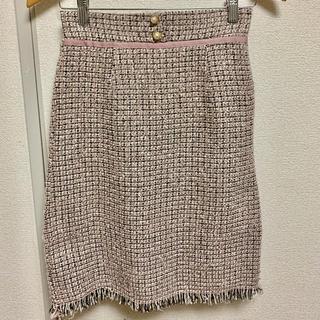 トッコ(tocco)のトッコ パールボタンツイードスカート ピンク(ひざ丈スカート)