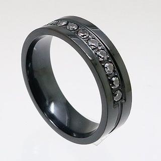 凹みラインラインストーンステンレスリング ブラック 17号 新品(リング(指輪))