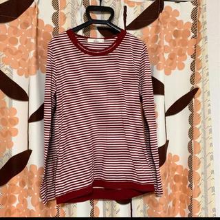 イッカ(ikka)のボーダー レディース ホワイト レッド ビジュー付き 長袖Tシャツ M 重ね着風(Tシャツ(長袖/七分))