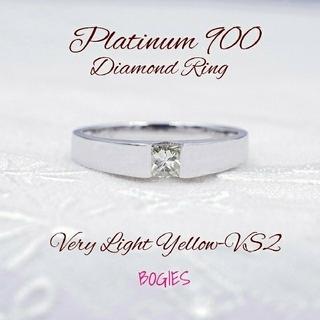 リング ダイヤ pt900 タンク シンプル ベリーライトイエロー 定番 新品 (リング(指輪))