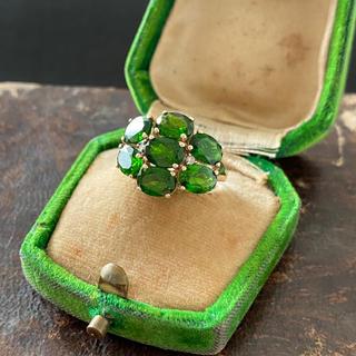 アンティーク グリーントルマリン ダイヤモンド 9金 ホールマーク入り(リング(指輪))