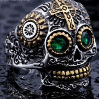 大人気 スカル グリーンアイ リング 緑の目 指輪 20号(リング(指輪))