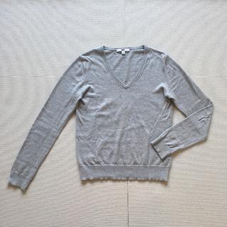 ユニクロ(UNIQLO)のコットンカシミヤVネックセーター/ライトグレー/M(ニット/セーター)