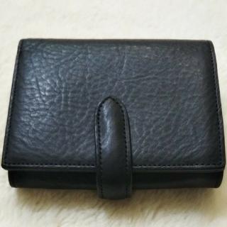 ムジルシリョウヒン(MUJI (無印良品))のrioさま 新品未使用 無印良品 ヌメシュリンク革ジャバラ2つ折財布 黒(折り財布)