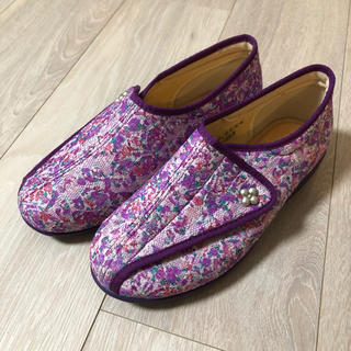 快歩主義 婦人靴 花柄 紫 介護シューズ 22cm 3E(スニーカー)