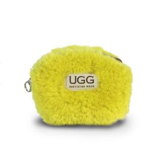 UGG - 【新品】アグ  UGG ファー ポーチ コインケース 本革 黄色 イエロー