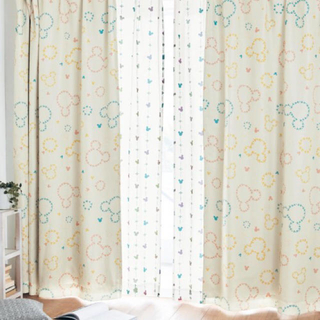 ベルメゾン - コーティング裏地付き遮光・遮熱・防音カーテン「ミッキーモチーフ」(ディズニー)