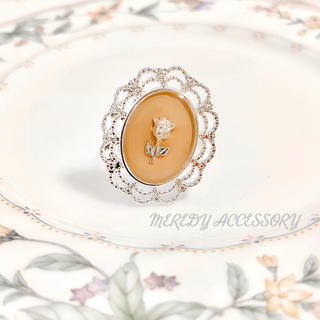 beige rose silver ring(リング(指輪))