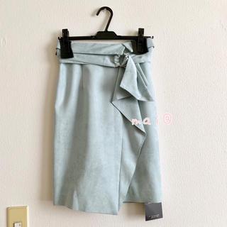 ジャスグリッティー(JUSGLITTY)の新品未使用タグ付き‼︎ スエードタイトスカート ミントグリーン(ひざ丈スカート)
