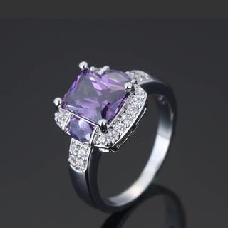 指輪 リング パープル 新品 メンズ レディース  ダイヤ シルバー (リング(指輪))