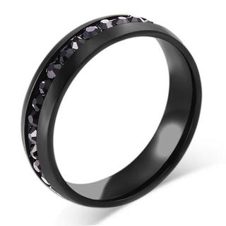 USサイズ10メンズレディースリングステンレス黒リングA265BKB10(リング(指輪))