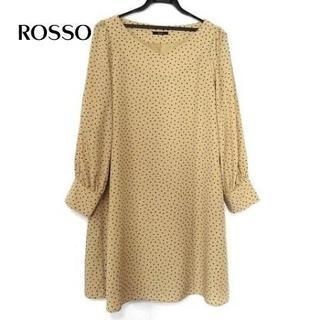 ロッソ(ROSSO)のロッソ ワンピース サイズF レディース新品同様 ベージュ×黒(ひざ丈ワンピース)