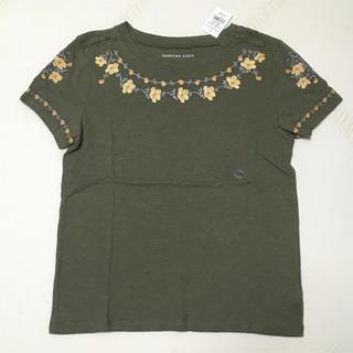 アメリカンイーグル(American Eagle)のアメリカンイーグル 半袖刺繍入りTシャツ モスグリーン XXS(Tシャツ(半袖/袖なし))