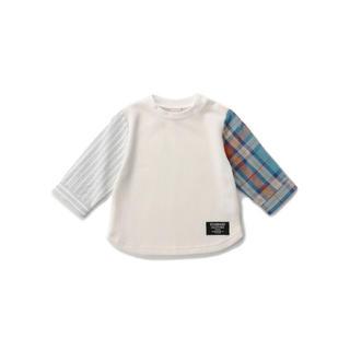 プティマイン(petit main)のpetit main 袖チェック切替ワッフル長袖Tシャツ 130cm(Tシャツ/カットソー)