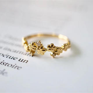 K18  天然ダイヤモンド リング(リング(指輪))