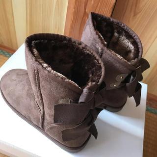 ダブルリボン ムートン風 ムートン ブーツ(ブーツ)