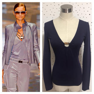 グッチ(Gucci)の本物 GUCCI グッチ 長袖 薄手 ニット セーター XS パープル系(ニット/セーター)