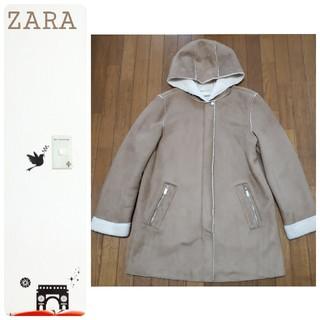 ZARA - ZARA ムートン調 フーデットコート  薄茶色