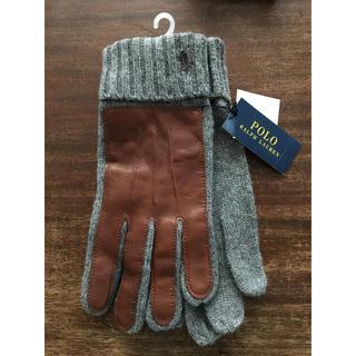 ポロラルフローレン(POLO RALPH LAUREN)の新品タグ付 ラルフローレン手袋(カシミア混、羊革)グレー レディースフリー 学生(手袋)