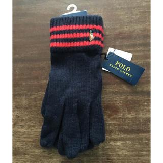 ポロラルフローレン(POLO RALPH LAUREN)の新品タグ付き ポロラルフローレン 手袋(カシミア混)紺 レディースフリー 学生(手袋)