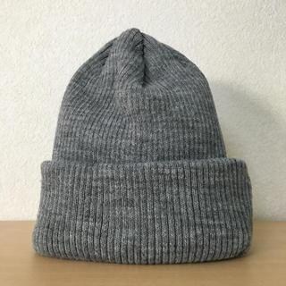 アースミュージックアンドエコロジー(earth music & ecology)の新品 ニット帽 リブニット帽 グレー シンプル(ニット帽/ビーニー)