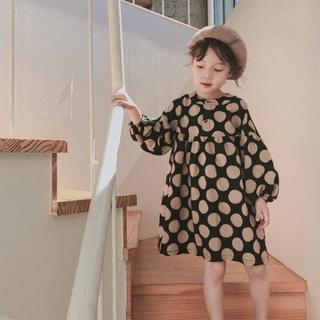 【120cm/ブラック】子供服 ワンピース 長袖 スカート キッズ 女の子(ワンピース)