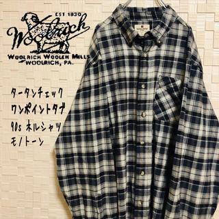 ウールリッチ(WOOLRICH)の【超希少】90s ウールリッチ ワンポイント ネルシャツ モノトーン BDシャツ(シャツ)