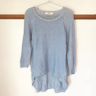 イッカ(ikka)のikka*麻綿*織り模様が可愛い*Lサイズ*ゆったり薄手セーター*きれいめ水色(ニット/セーター)