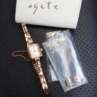 アガット(agete)のagete❇️2Pダイヤ K18GP 華奢ウォッチ(腕時計)