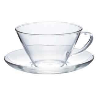 ハリオ(HARIO)のHARIO 耐熱ガラスカップ&ソーサー2客(グラス/カップ)