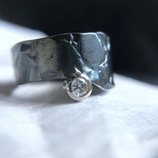 Oxidized silver platinum diamond ring (リング(指輪))