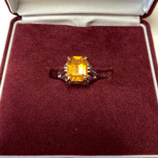 ヴィンテージリング 指輪 オレンジ色の石 四角形 刻印無し 13号 昭和レトロ(リング(指輪))