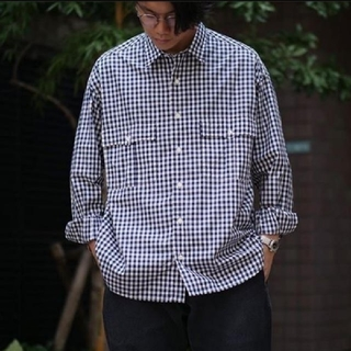 ポーター(PORTER)のタグ付 ROLL UP GINGHAM CHECK SHIRT - NAVY(シャツ)