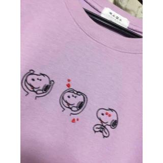 ピーナッツ(PEANUTS)の新品 刺繍 スヌーピー snoopy 紫 パープル トレーナー スウェット(トレーナー/スウェット)