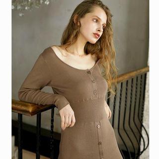 エディットフォールル(EDIT.FOR LULU)のmangata   美品 Brown knit onepiece(ロングワンピース/マキシワンピース)