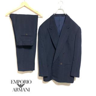 エンポリオアルマーニ(Emporio Armani)の【人気】ARMANI セットアップ 濃紺 ストライプ スーツ ダブル(セットアップ)