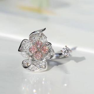 2020最新作ピンクダイヤモンド花リング(リング(指輪))