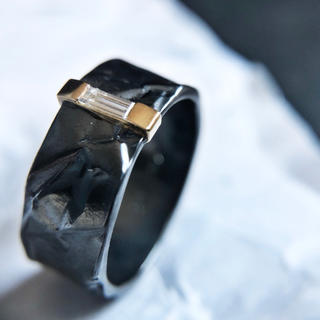 Oxidized silver K18 diamond ring (リング(指輪))