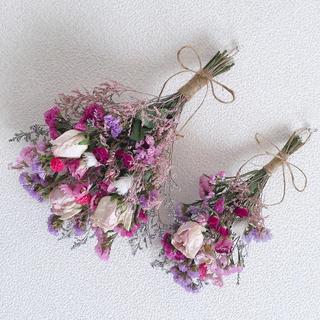 ドライフラワースワッグ✿三種ピンク薔薇セット(ドライフラワー)