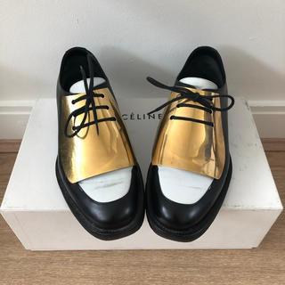 セリーヌ(celine)のレア Celine セリーヌ シューズ ゴールド フィービー 36.5 白黒(ローファー/革靴)