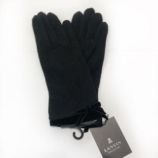 ランバンコレクション(LANVIN COLLECTION)の【新品】LANVIN 手袋 ブラック リボンが可愛い(^^)お値打ちにどうぞ!(手袋)