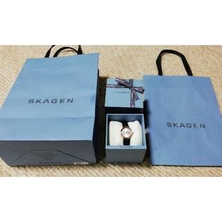 スカーゲン(SKAGEN)の新品 SKAGENスカーゲン レディース腕時計 レザー 定価15,400円(腕時計)