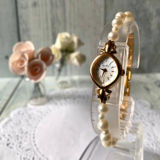 アガット(agete)の【電池交換済み】agete アガット 腕時計 パール シェル ゴールド(腕時計)