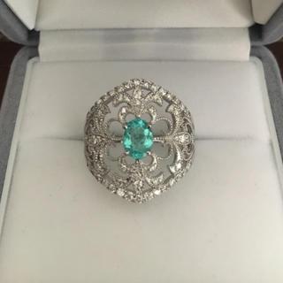 ダイヤモンド×パライバトルマリン リング Pt900 0.67ct 0.52ct(リング(指輪))