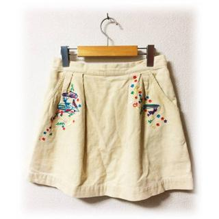 スカラー(ScoLar)のスカラー 刺繍 コーデュロイ スカート ミニスカート カラフル ウエストゴム(ミニスカート)