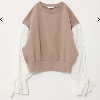 リエンダ(rienda)のrienda Shirt Sleeve Sweat TOP-R ベージュ(トレーナー/スウェット)