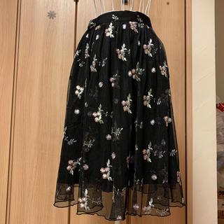 エムズエキサイト(EMSEXCITE)のMエムズエキサイトゴスロリ風花柄シフォンロングスカート(ロングスカート)