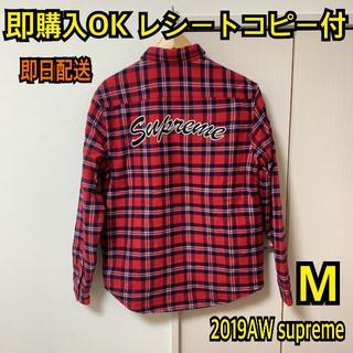 シュプリーム(Supreme)の即購入OK M赤 シュプリーム アーチロゴ キルティング フランネルシャツ(シャツ)